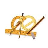 Dibujo de ingeniería en un fondo azul y herramientas para medir el ejemplo del extracto del fondo del icono del ejemplo Fotografía de archivo
