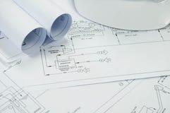 Dibujo de ingeniería para el proceso ambiental de la ingeniería fotografía de archivo libre de regalías