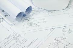 Dibujo de ingeniería para el proceso ambiental de la ingeniería al tratamiento imagen de archivo libre de regalías