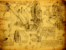 Dibujo de ingeniería viejo Imagen de archivo