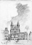 Dibujo de lápiz de Praga Fotos de archivo