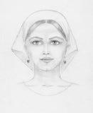 Dibujo de lápiz de la mujer joven, exploración Foto de archivo