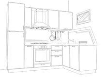 Dibujo de lápiz interior de la cocina de la esquina moderna Fotos de archivo