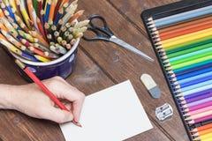 Dibujo de lápiz un papel en blanco Imagen de archivo