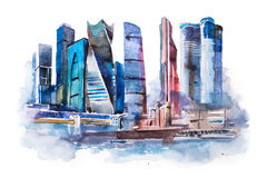 Dibujo de la acuarela de la ciudad de Moscú Pintura internacional de la acuarela del centro de negocios Fotos de archivo libres de regalías