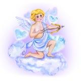 Dibujo de la acuarela del cupido, ángel del amor con las alas en el cielo Diseño de la tarjeta de felicitación del día de tarjeta Fotos de archivo