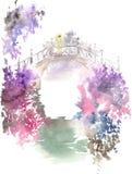 Dibujo de la acuarela del jardín floreciente de la primavera ilustración del vector