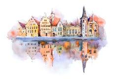 Dibujo de la acuarela del paisaje urbano de Brujas, Bélgica Pintura de la acuarela del canal de Brujas Fotografía de archivo