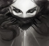 Dibujo de la cara de la mujer joven en estilo negro gótico Fotos de archivo