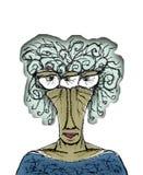 Dibujo de la caricatura del retrato de la mujer mayor Fotos de archivo