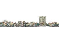 Dibujo de la carta blanca del scape de la ciudad, ciudad de Hanoi, vector e illustratio Fotografía de archivo libre de regalías