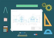 Dibujo de la casa y herramientas de dibujo El concepto de diseño Ejemplo plano del vector libre illustration