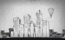 Dibujo de la ciudad sobre fondo de la pared de ladrillo Imagen de archivo
