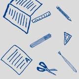 Dibujo de la escuela y modelo de las herramientas de la escritura Imagenes de archivo