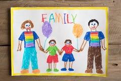 Dibujo de la familia de LGBT Imagenes de archivo