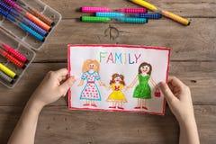 Dibujo de la familia de LGBT Imagen de archivo libre de regalías