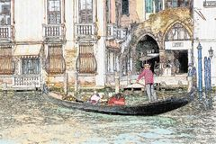 Dibujo de la góndola en el canal grande en Venecia, Italia libre illustration