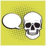 Dibujo de la historieta del cráneo con el estallido Art Background Vector del discurso de la burbuja fotografía de archivo