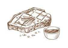 Dibujo de la mano de la carne del filete Fotos de archivo