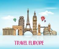 Dibujo de la mano de Europa del viaje con las señales famosas Imagen de archivo libre de regalías