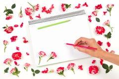 Dibujo de la mano de la mujer en el cuaderno espiral con los lápices coloreados y el marco color de rosa Fotos de archivo