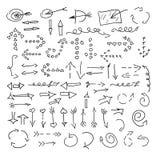 Dibujo de la mano de las flechas Imagen de archivo libre de regalías
