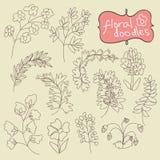 Dibujo de la mano de las flores y de las plantas Doodle.Child Imagen de archivo