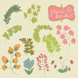 Dibujo de la mano de las flores y de las plantas Doodle.Child. Vintage Imagenes de archivo