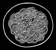 Dibujo de la mano de los espaguetis del garabato Foto de archivo
