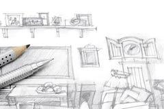 Dibujo de la mano de los muebles de la sala de estar con los lápices Fotografía de archivo libre de regalías