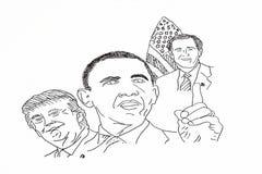 Dibujo de la mano de políticos americanos stock de ilustración