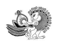 Dibujo de la mano del bosquejo del pájaro del pavo real de Paisley, kalamkari indio de la tradición libre illustration