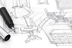Dibujo de la mano del diseñador de los muebles de la sala de estar Imagen de archivo libre de regalías