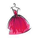 Dibujo de la mano del vestido de bola en una suspensión Imagen de archivo libre de regalías