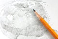 Dibujo de la manzana por el lápiz del grafito Imagen de archivo