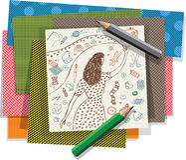 Dibujo de la muchacha y banderas hechos a mano de los materiales de los artes Fotografía de archivo libre de regalías