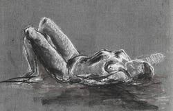 Dibujo de la mujer desnuda Fotografía de archivo libre de regalías