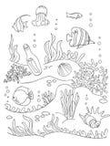 Dibujo de la parte inferior de mar Fotos de archivo