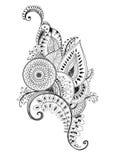 Dibujo de la pluma de Mehendi Foto de archivo libre de regalías