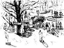 Dibujo de la tinta del paisaje urbano cuadrado Imagen de archivo libre de regalías