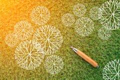 Dibujo de la vista superior del árbol en fondo de la hierba verde ilustración del vector