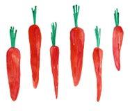 Dibujo de las acuarelas de zanahorias stock de ilustración