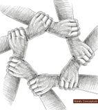 Dibujo de las manos conceptual. stock de ilustración