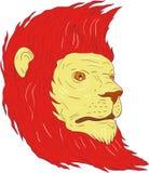 Dibujo de Lion Head With Flowing Mane stock de ilustración
