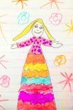 dibujo de los childs de la señora bonita Fotos de archivo libres de regalías