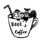 Dibujo de los libros de lectura de una imagen fantástica, de la niña y del muchacho que se sientan en una taza de café, illustr c Imagen de archivo libre de regalías