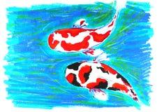Dibujo de los pescados de Koi ilustración del vector