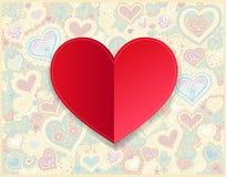 Dibujo de papel rojo de la mano del día de tarjetas del día de San Valentín en fondo de la forma del corazón stock de ilustración