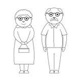 Dibujo de pares mayores lindos ilustración del vector