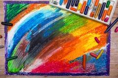 Dibujo de pasteles colorido del aceite Imágenes de archivo libres de regalías
